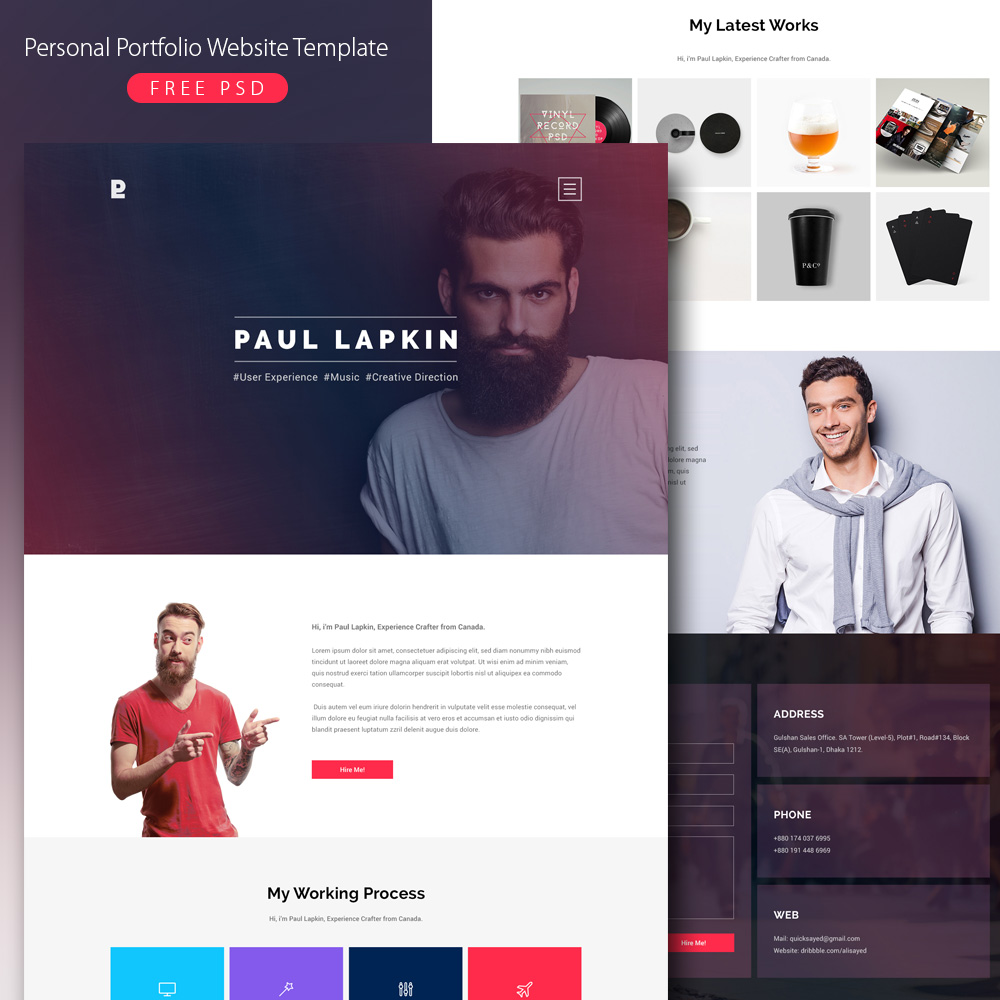 Personal Portfolio Website Template Free PSD Download - Download PSD