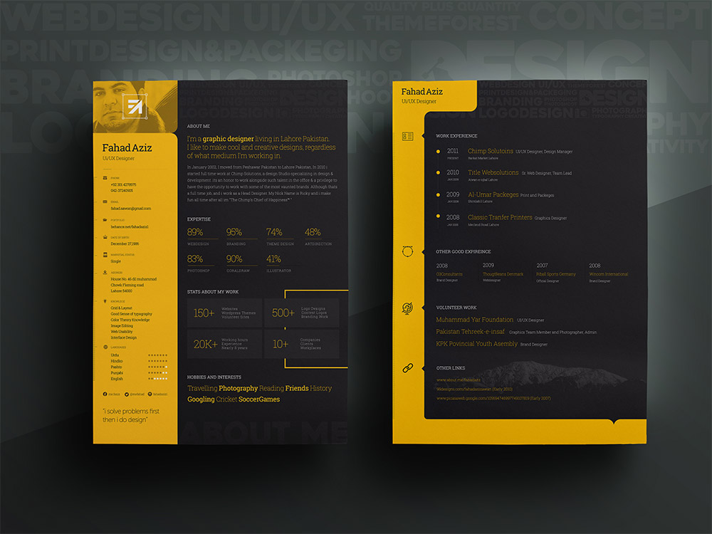 Personal Resume Template Free PSD Yellow, Work, Web Developer Resume, Web  Designer,  Ui Designer Resume