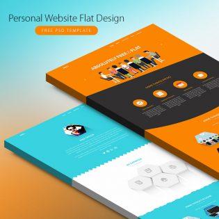 Personal Website Flat Design Free PSD Template