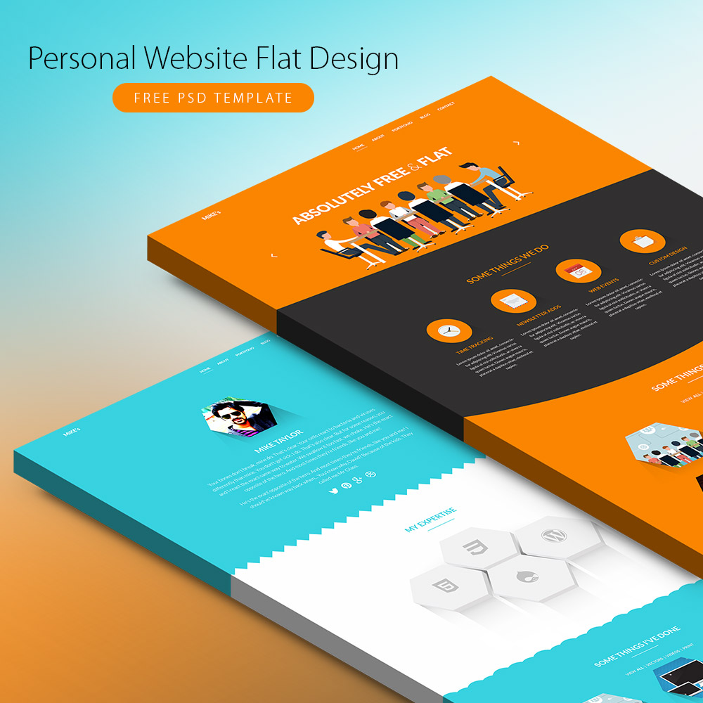 corporate brochure design psd free download - personal website flat design free psd template download