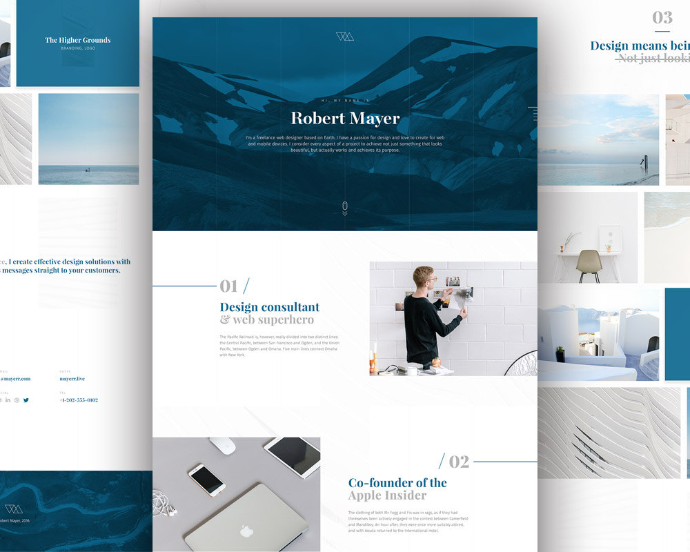 Personal website template free psd download psd for Website layout design software free download
