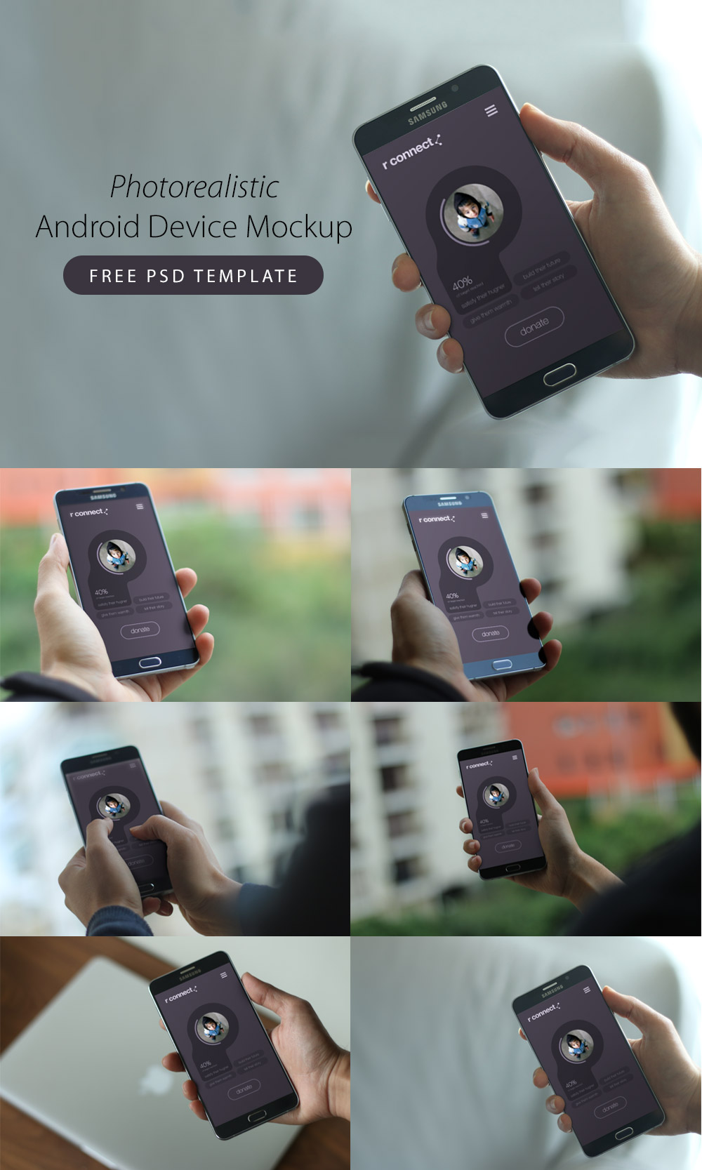 Photorealistic Android Device Mockup Free PSD Templates