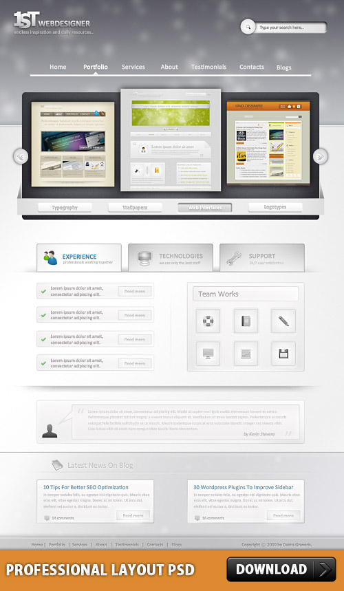 Photoshop web design professional layout psd download for Website layout design software free download