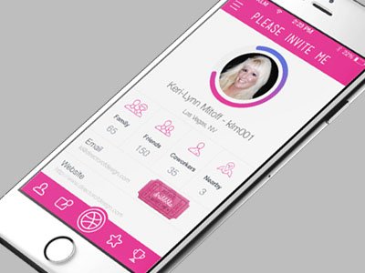 Pink iOS App Interface Design PSD