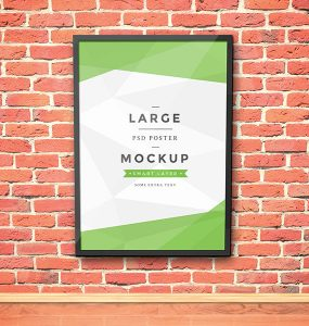 Poster Frame Mockup PSD Wooden, Wall, Style, Showcase, Resources, Resource, PSD file, PSD, Poster, Picture, Photoshop, Modern, Mockup, mock-up, Hanging, Graphics, Freebies, Freebie, Free Resources, Free PSD, Free, Frame, flyer mock, brick, Board, Background, artwork, announcement,