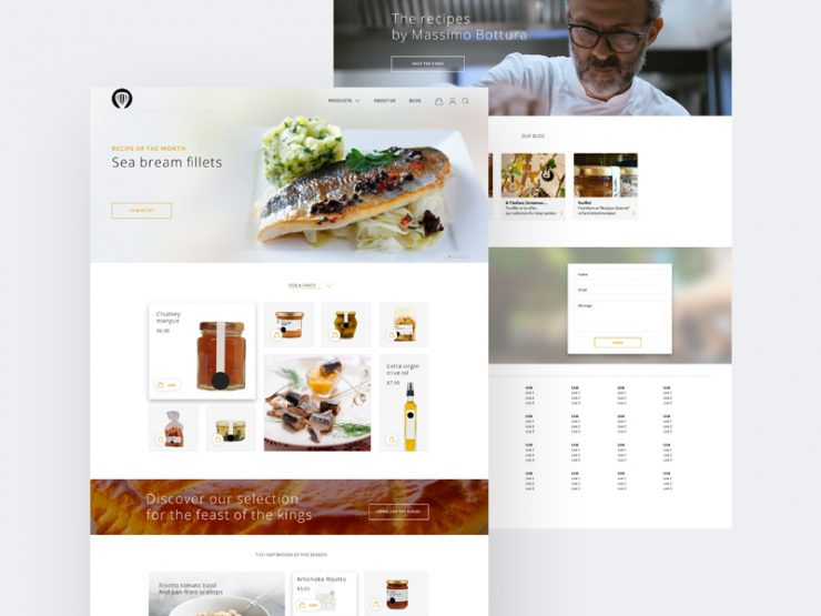 Clean restaurant website template free psd download