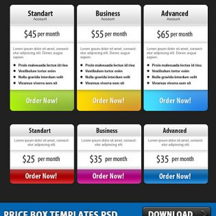 Price Box Templates Free PSD