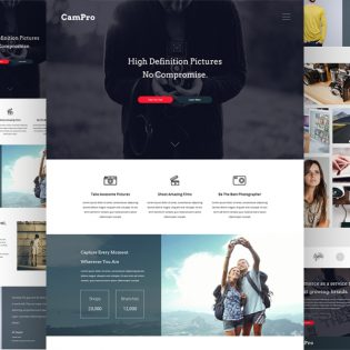 Professional Camera Website Free Template PSD