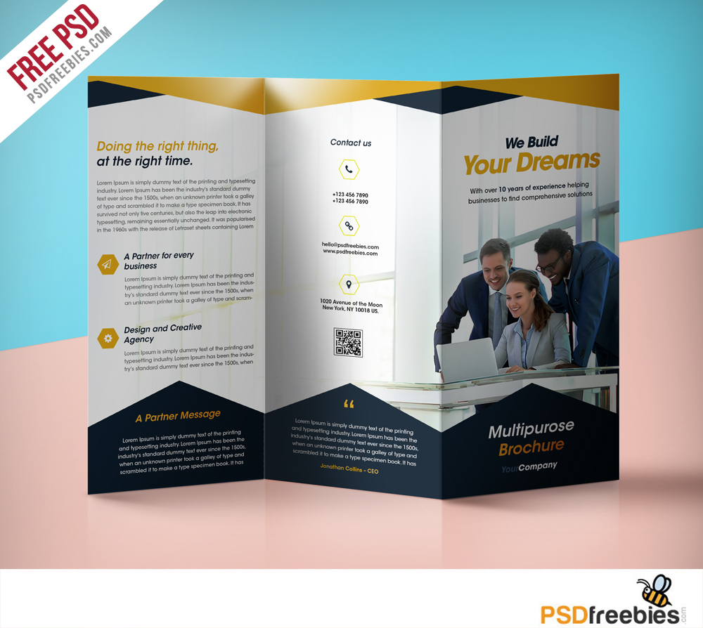 Professional corporate tri fold brochure free psd template for Free printable tri fold brochure template