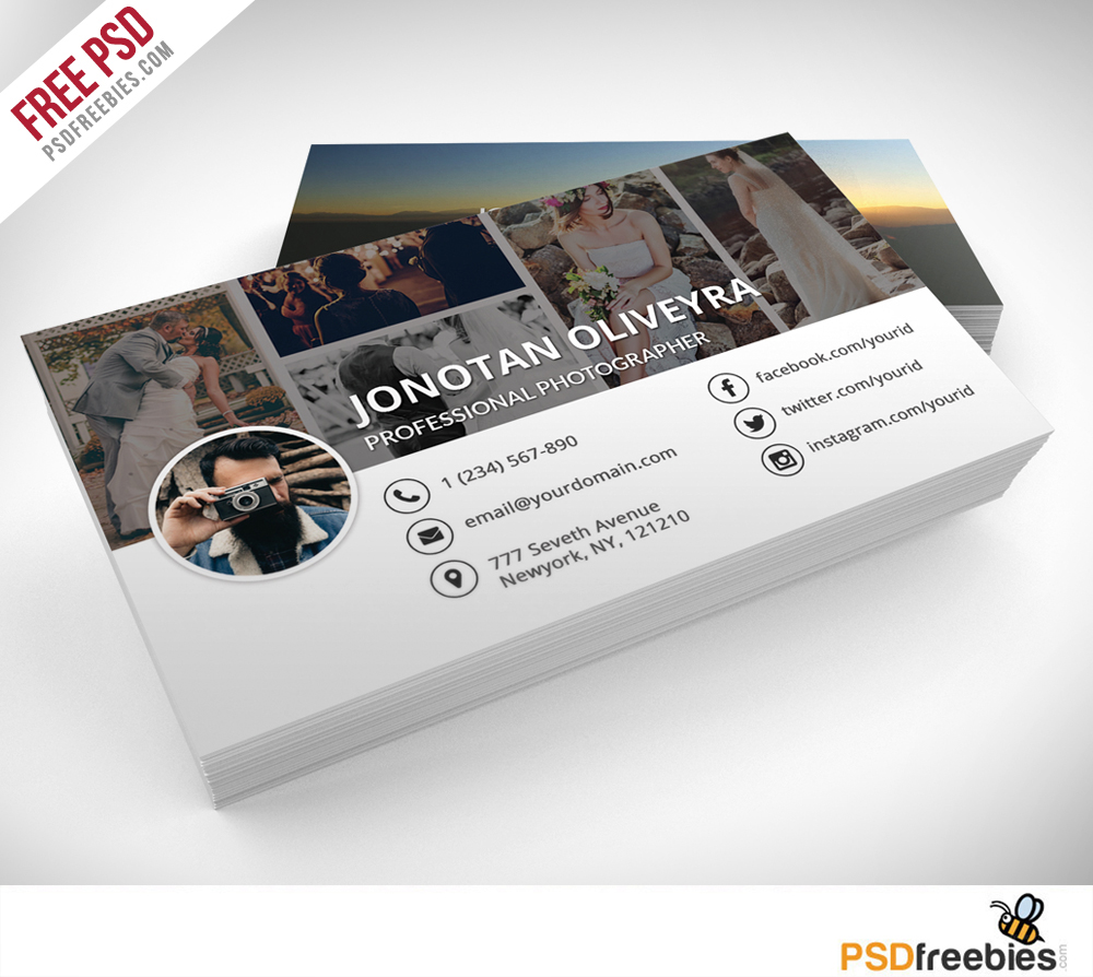 Professional Photographer Business Card PSD Template Freebie - Business card psd template download