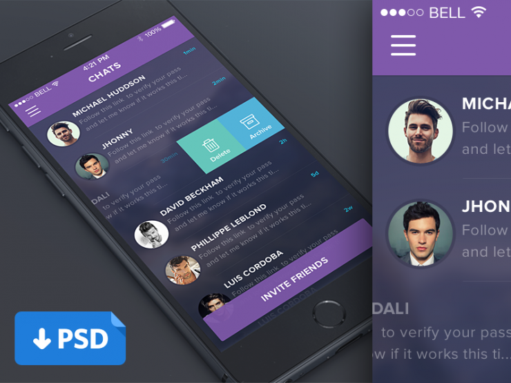 Purple Mobile Chat List UI PSD whatsapp, Web, User Interface, ui set, ui kit, UI elements, UI, Talk, Simple, Resources, purple, PSD, Phone, Modern, Mobile UI, List, iOS, Interface, GUI Set, GUI kit, GUI, Graphical User Interface, friends, Freebie, Free PSD, Flat, Elements, Design Resources, Design Elements, conversation, comment, Clean, chat,