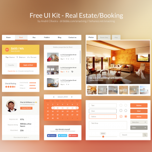 Real Estate Booking Free Web UI Kit PSD