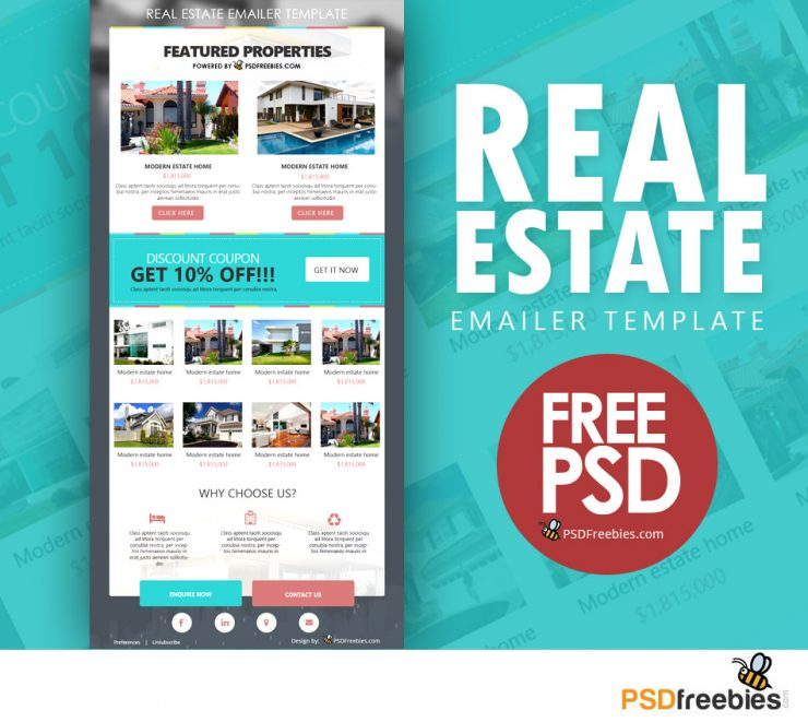 Real Estate Email Template Free PSD