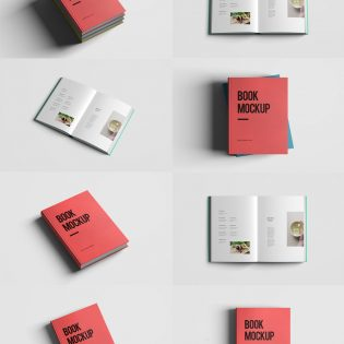 Realistic Book Mockup Template Pack Free PSD