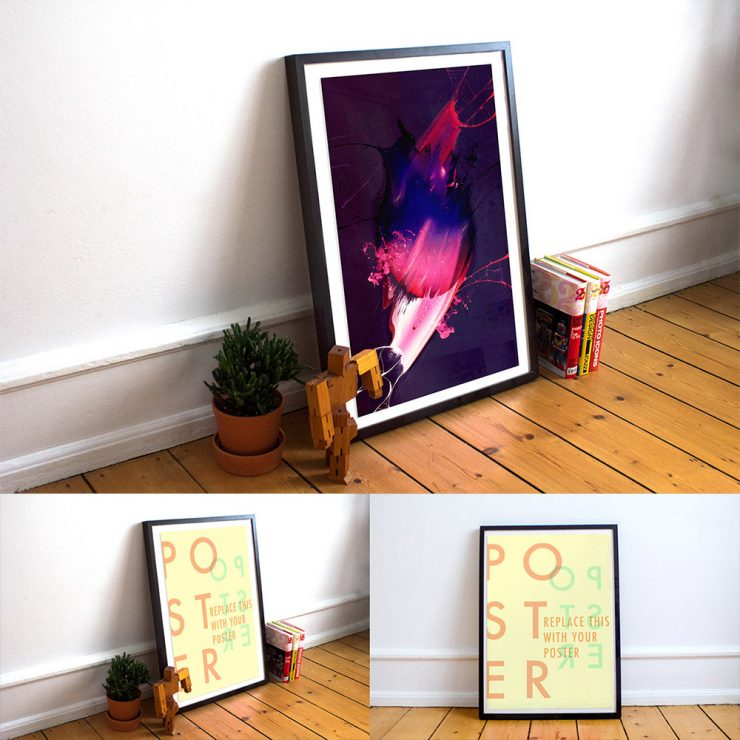 Realistic Poster Frame Free Mockups PSD