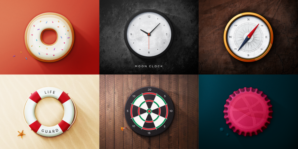 realistic round object web icons psd set download
