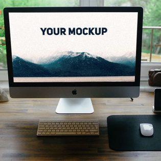 Realistic iMac Free PSD Mockup Template