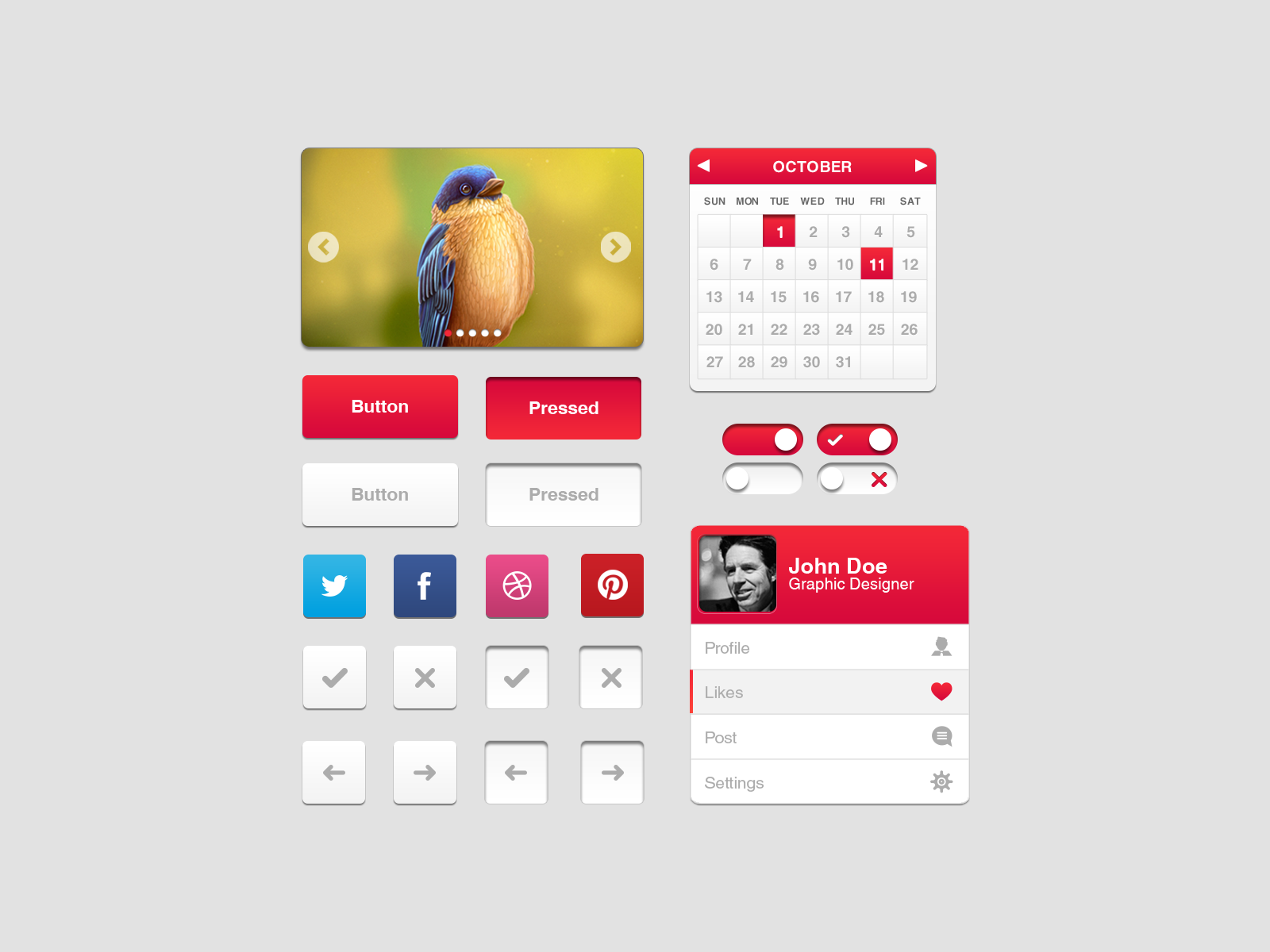 Red UI Elements PSD Kit