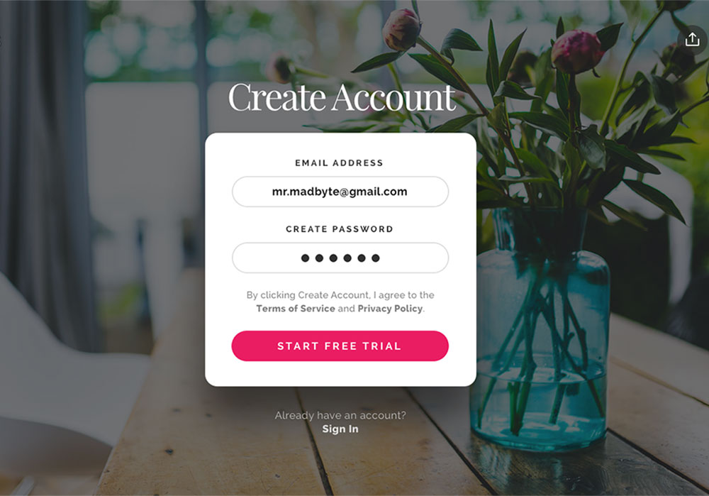Registration Form Popup Window PSD Freebie