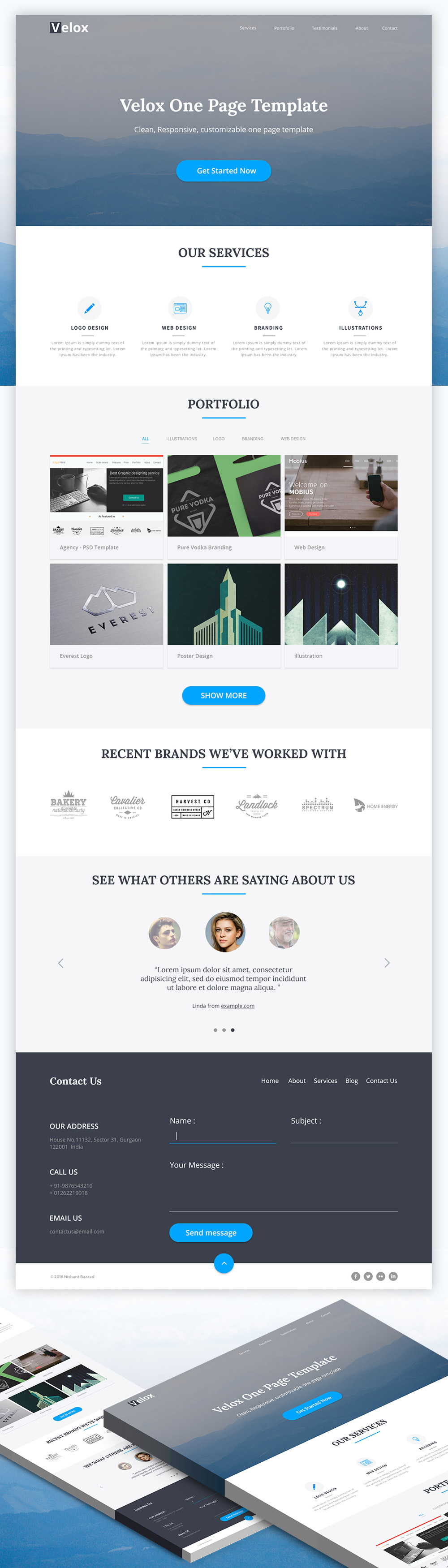 Responsive One Page Website Template For Creative Agencies
