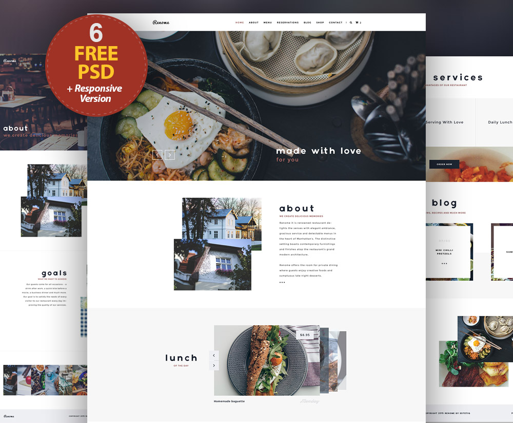 Responsive Restaurant Website Free PSD Templates