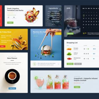 Restaurant App Widgets UI Kit Free PSD