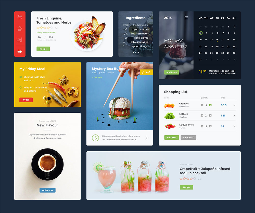 Restaurant app widgets ui kit free psd download