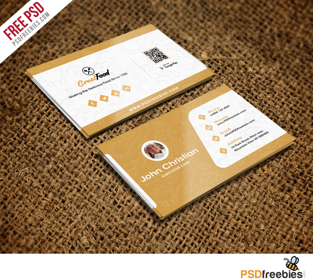 Restaurant Chef Business Card Template Free PSD Download - Business card design templates free