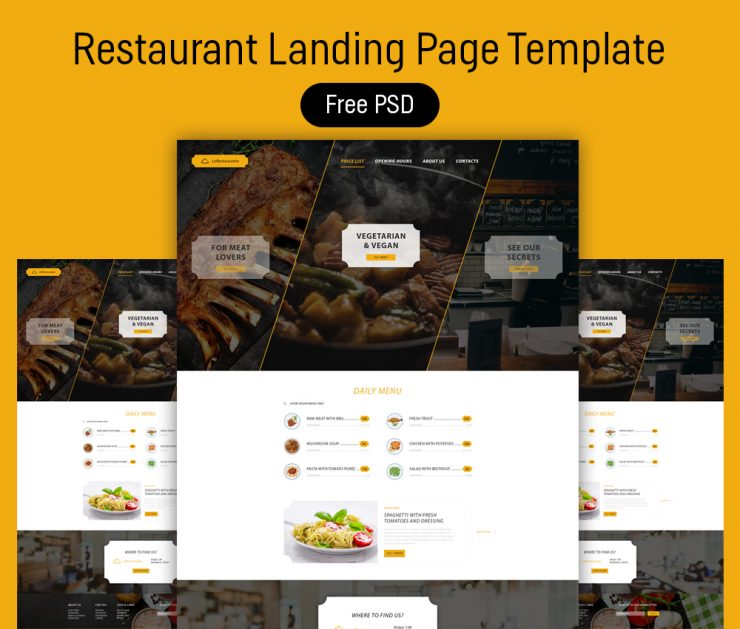 Restaurant Landing Page Template Free PSD