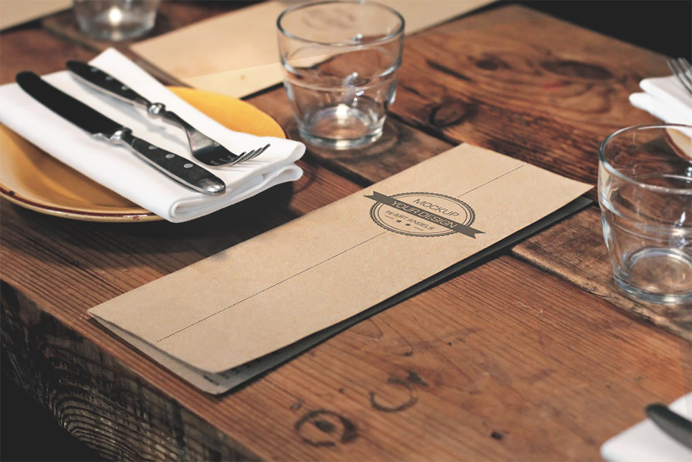 Restaurant menu mockup free psd download download psd for Table menu restaurant