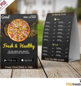 Restaurant Table Tent Menu Template Free PSD