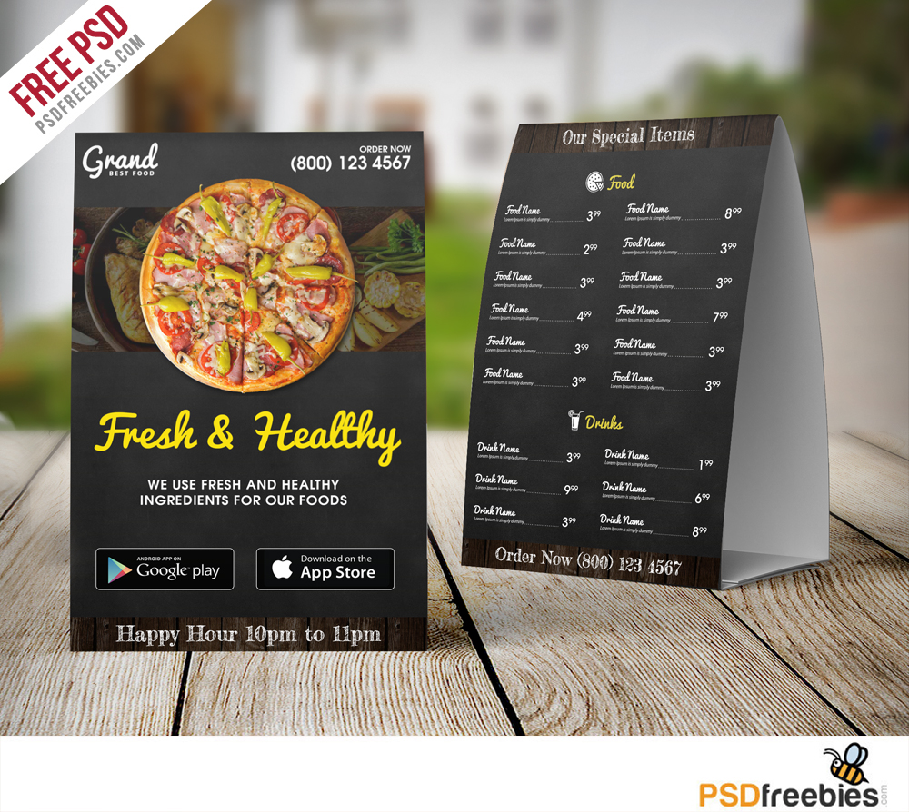 Restaurant table tent menu template free psd download for Restaurant table menu
