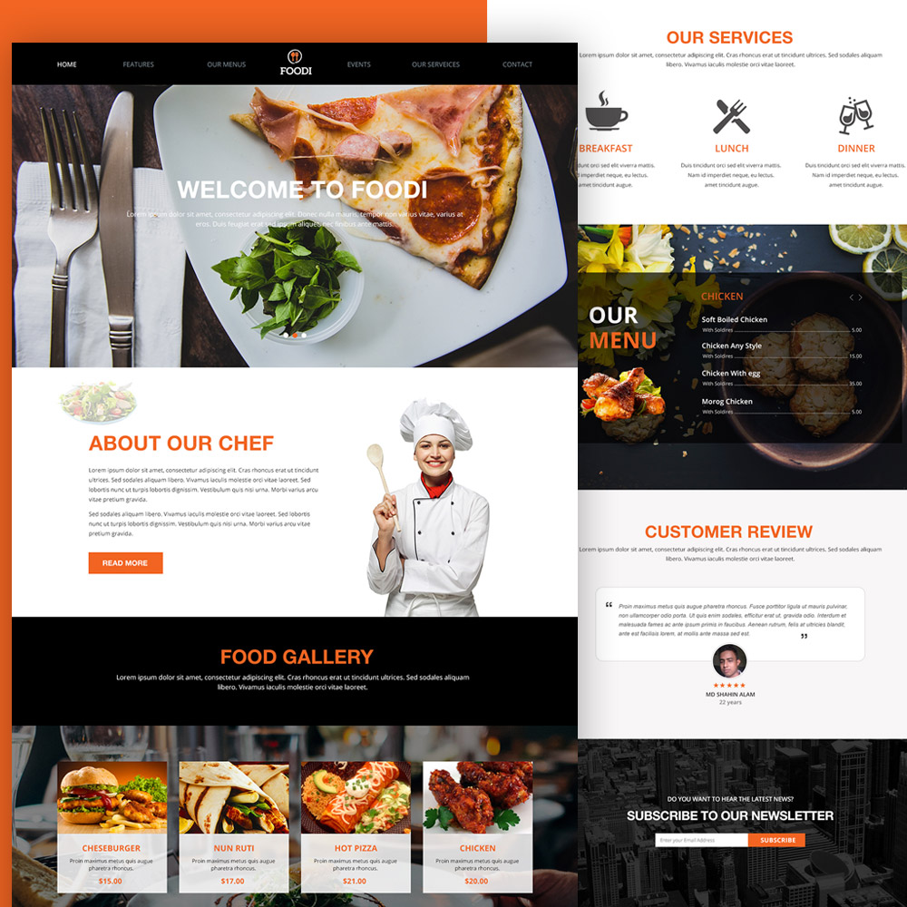 Restaurant website homepage template free psd download