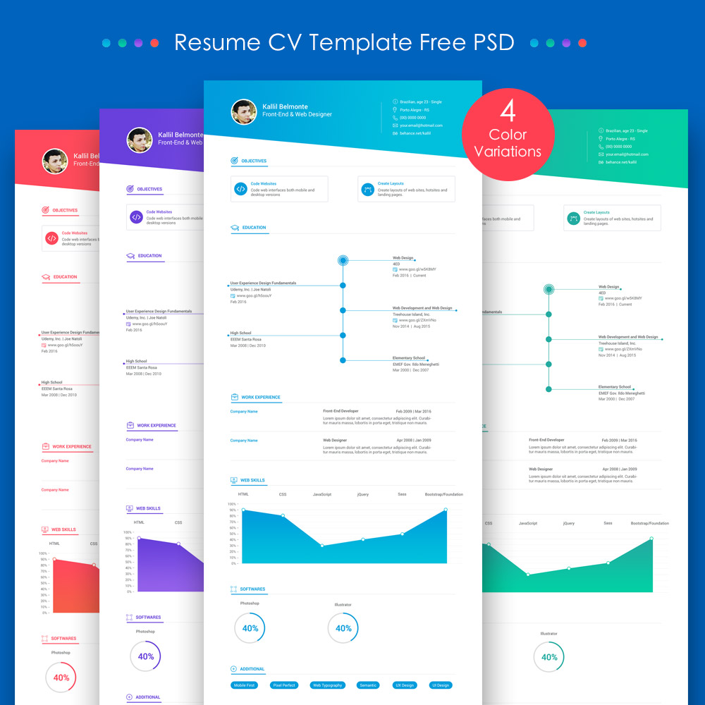 25+ Best Free Resume / CV Templates PSD Work, White, Web Designer,  Resume Or Cv