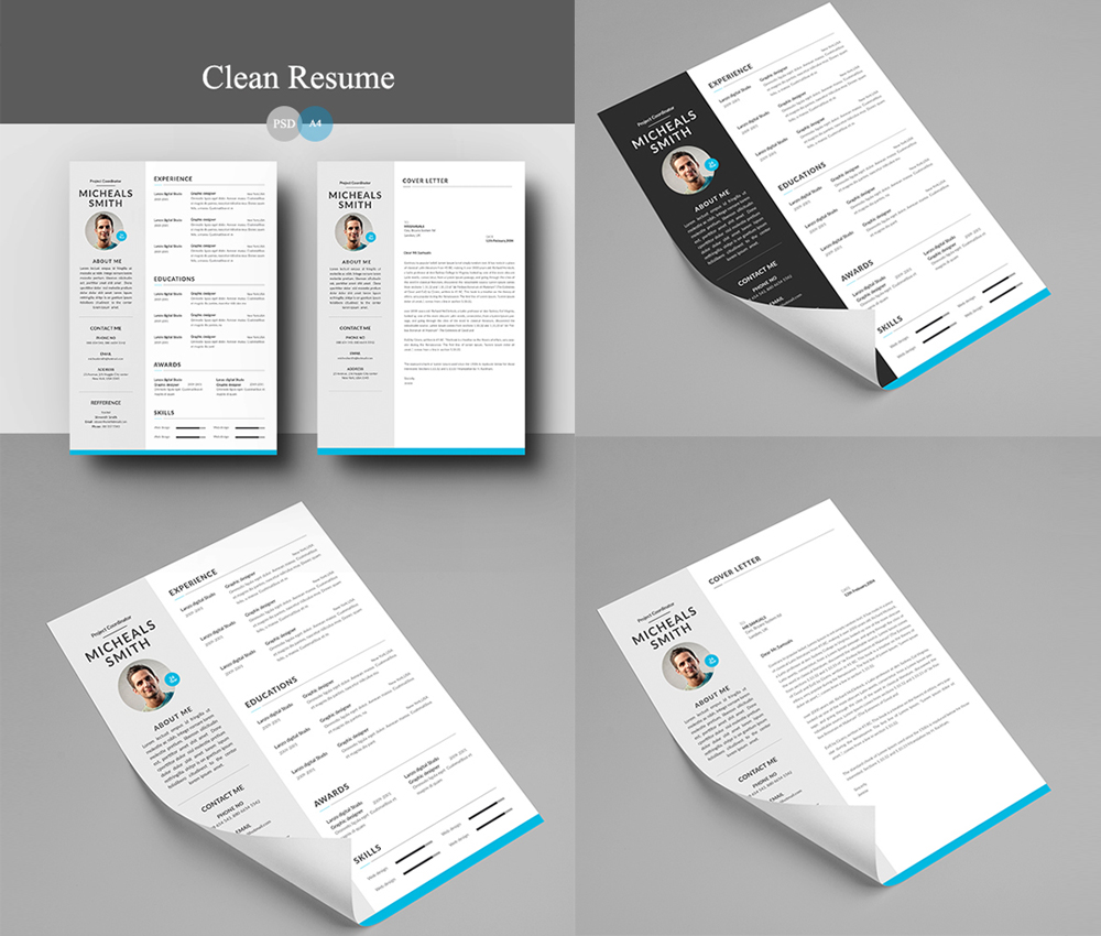 resume and cover letter psd template work white web designer ux designer