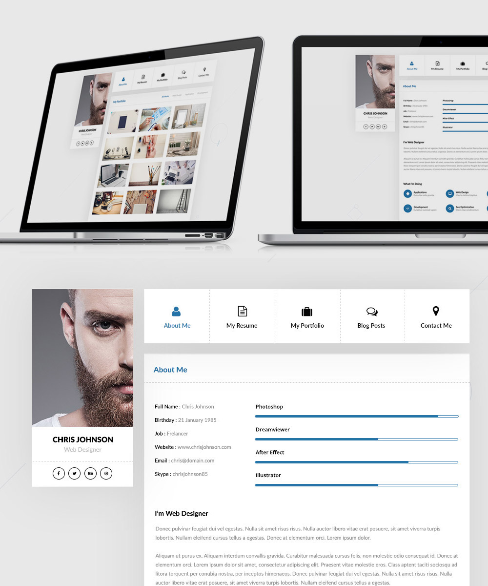25+ Best Free Resume / CV Templates PSD Work, White, Web Designer,