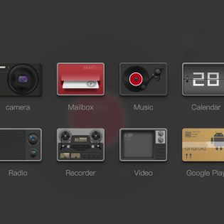 Retro App Icons Set Free PSD