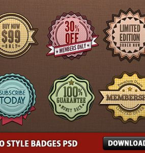 Retro Style Badges PSD Web Resources Web Elements Subscribe Special Offer Retro Style Retro Resources Psd Templates PSD Sources psd resources PSD images psd free download psd free PSD file psd download PSD Offer Tag offer Membership Members Member Only Layered PSDs Icons Icon PSD Graphics Free PSD Free Icons Free Icon Elements download psd download free psd Discount Tag Discount Badges