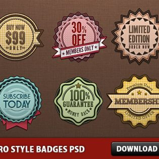 Retro Style Badges PSD