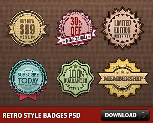 Retro Style Badges PSD Web Resources, Web Elements, Subscribe, Special Offer, Retro Style, Retro, Resources, Psd Templates, PSD Sources, psd resources, PSD images, psd free download, psd free, PSD file, psd download, PSD, Offer Tag, offer, Membership, Members, Member Only, Layered PSDs, Icons, Icon PSD, Graphics, Free PSD, Free Icons, Free Icon, Elements, download psd, download free psd, Discount Tag, Discount, Badges,
