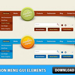 Ribbon Menu GUI Elements PSD