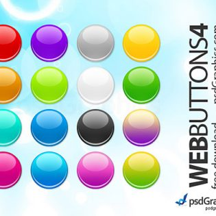 Round Web Buttons set PSD