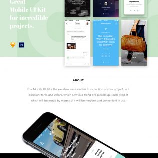 Sample Mobile Application UI PSD Freebie