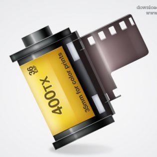 Shiny Camera Film Strip Icon PSD