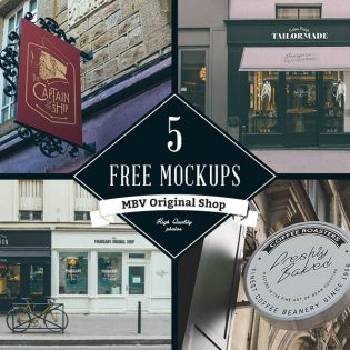 Shop Signboard Mockups Template PSD