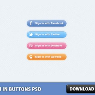 Sign In Buttons PSD