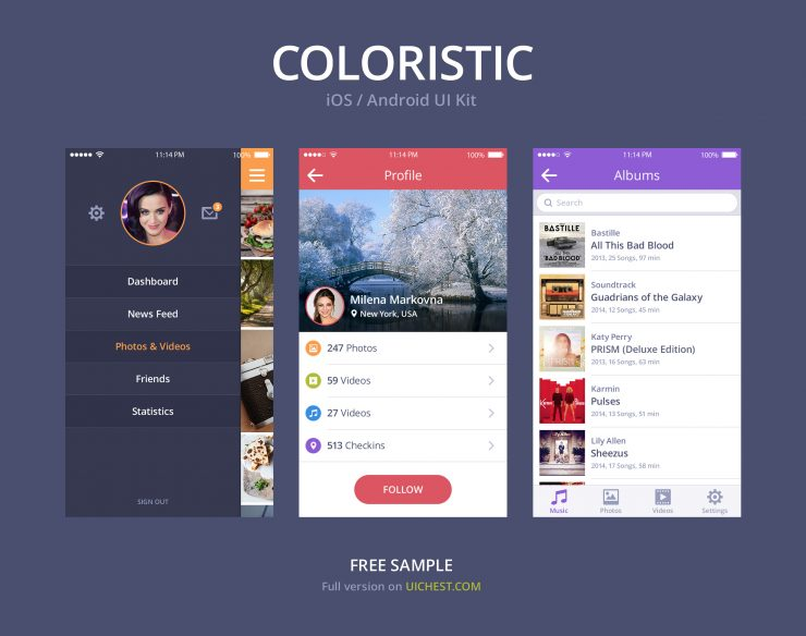 Simple Colorful iOS Android UI Kit PSD Web Resources, Web Elements, Web Design Elements, Web, User Interface, User, ui set, ui kit, UI elements, UI, Resources, Profile, Phone, Music, Mobile App, Mobile, Menu, iPhone App, iOS, Interface, GUI Set, GUI kit, GUI, Graphical User Interface, Free, Elements, Design Resources, Design Elements, Application, Apple, app ui, App, Android,
