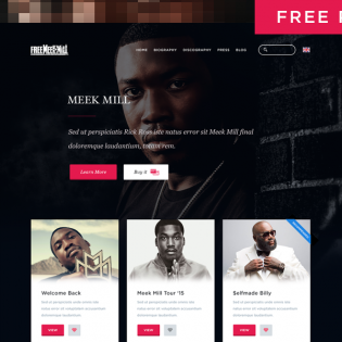 Simple Music Artist Web Page Template PSD