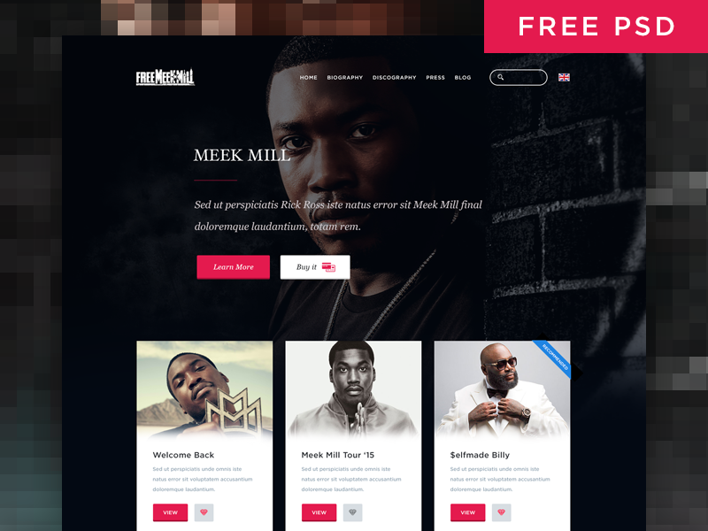 Simple Music Artist Web Page Template PSD Download - Download PSD