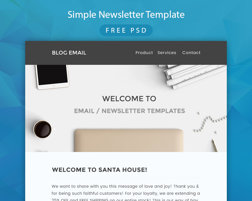 Simple Newsletter Template Free PSD Download Download PSD - Simple newsletter template